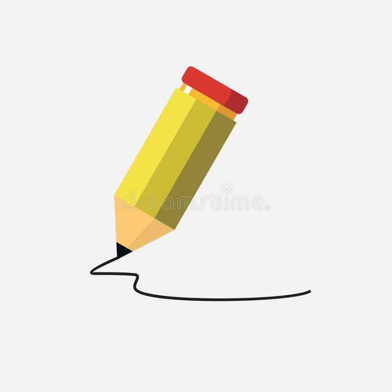 Lápis amarelo no branco ilustração do vetor