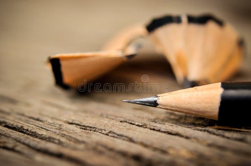 Lápis após aparas fotos de stock royalty free