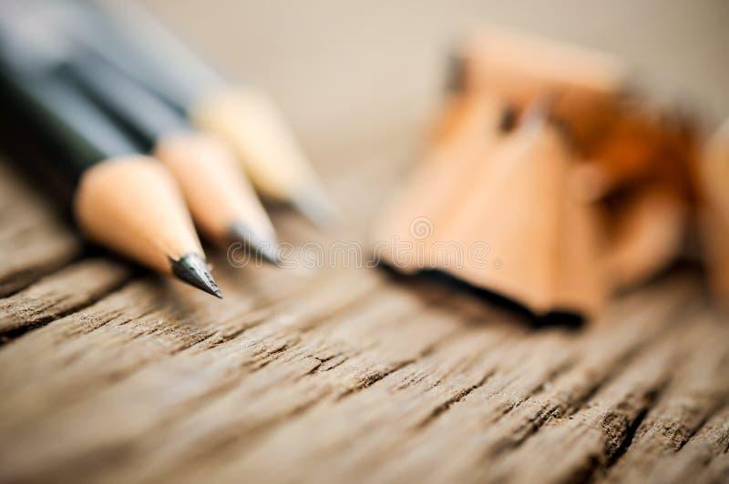Lápis após aparas imagem de stock