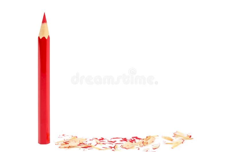 Lápis apontado da cor vermelha fotos de stock