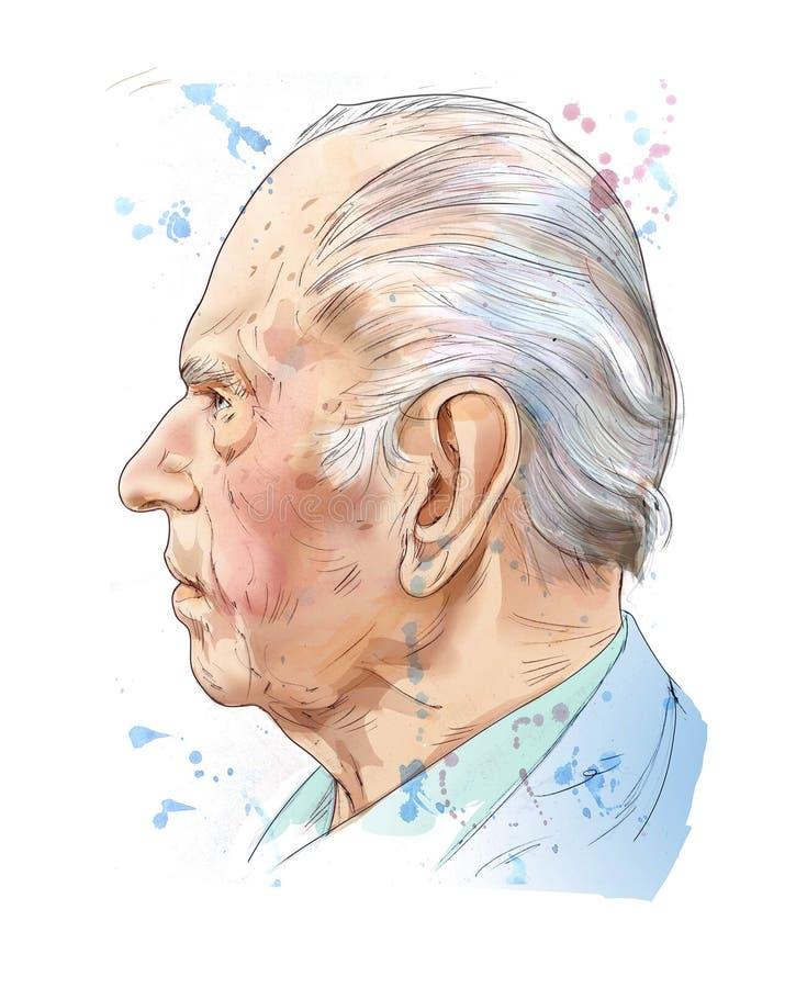 Lápis, aquarela e ilustração digital dos meios do homem idoso ilustração do vetor