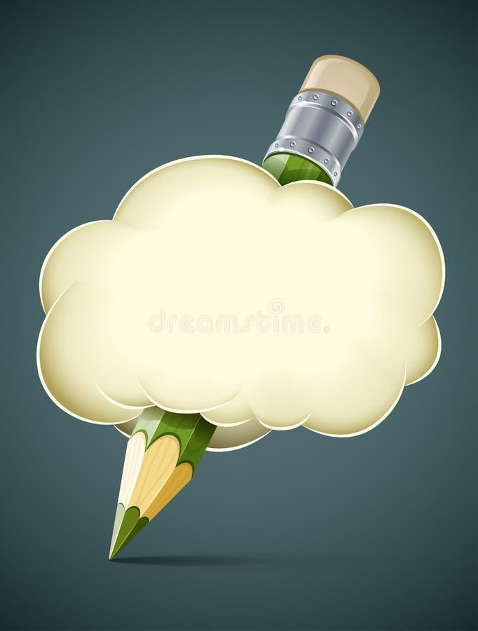 Lápis artístico creativo do conceito na nuvem ilustração do vetor