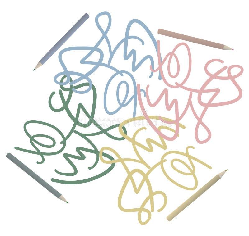 Lápis colorido ilustração royalty free