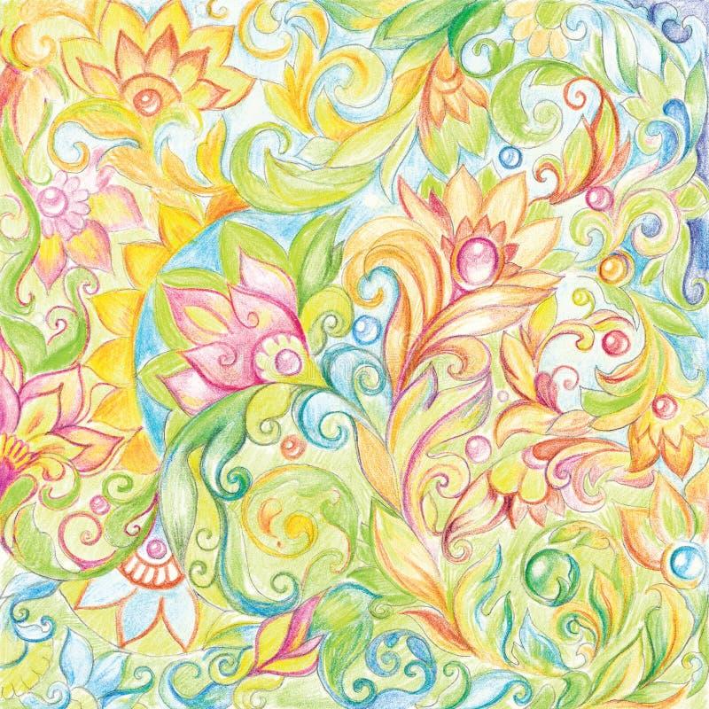 Lápis colorido do desenho gráfico com ornamento floral ilustração do vetor
