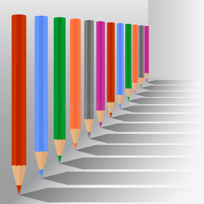Lápis coloridos ilustração royalty free