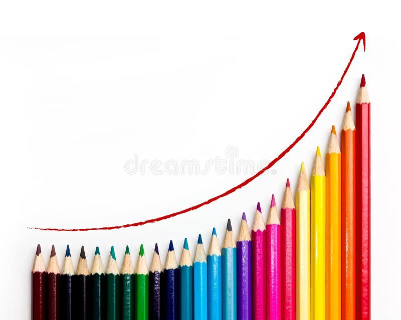 Lápis coloridos com carta de crescimento fotografia de stock royalty free