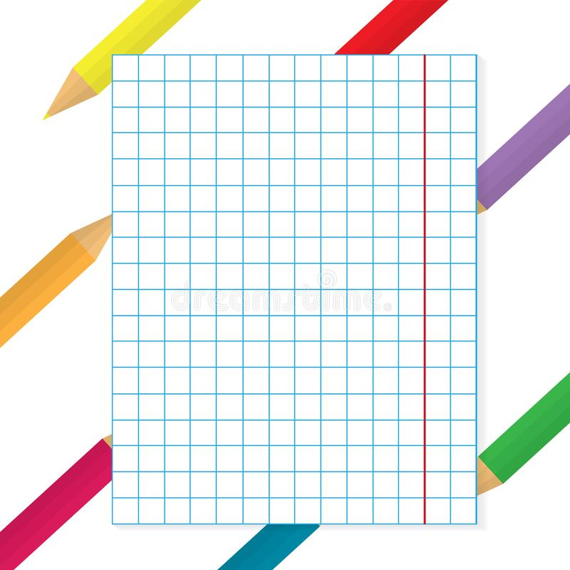 Lápis coloridos com fundo de papel quadriculado ilustração do vetor