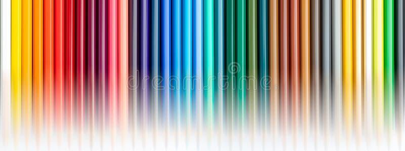 lápis coloridos de textura Primeiro plano Toda a gama de cores do arco-íris Início da escola Papel de parede bonito ilustração do vetor