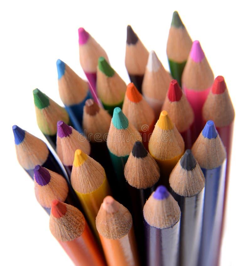 Lápis coloridos empacotados junto fotografia de stock