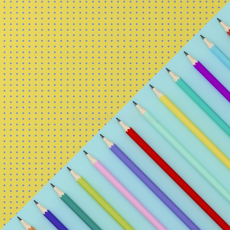 Lápis coloridos no contraste azul e amarelo do teste padrão do ponto da cor ilustração stock