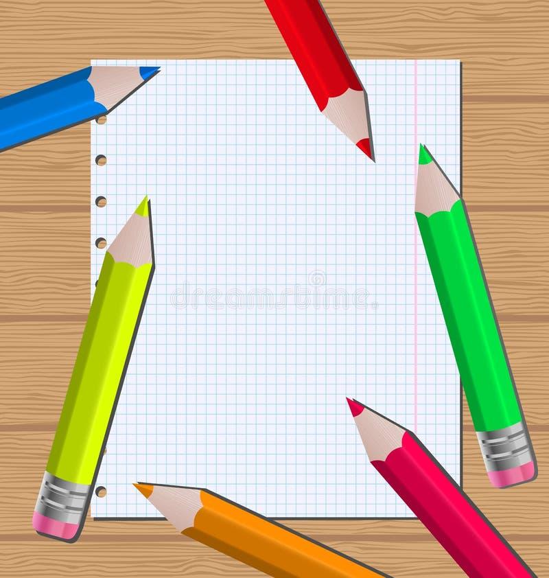 Lápis coloridos no fundo de papel da folha ilustração do vetor