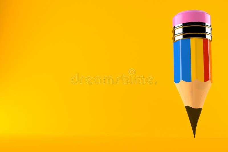 Lápis com bandeira romena ilustração stock