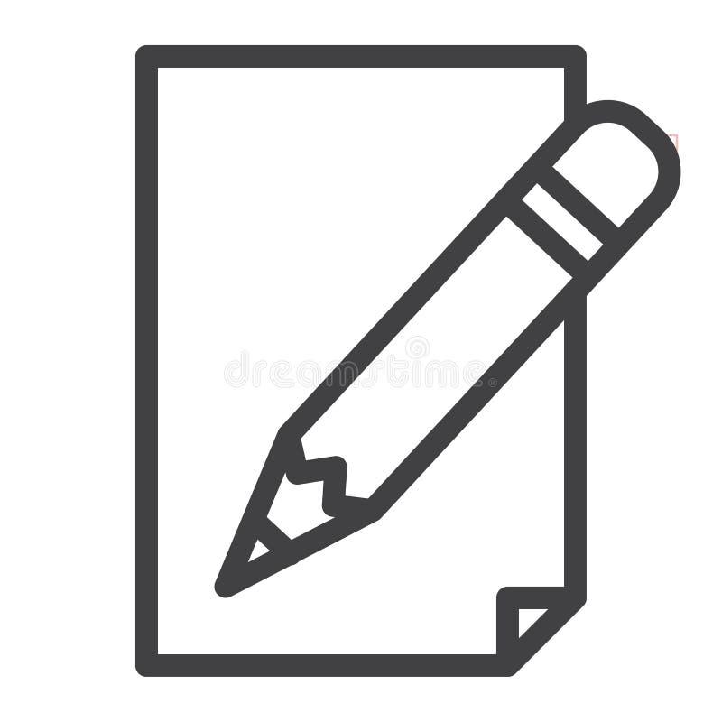Lápis com linha de papel ícone ilustração stock