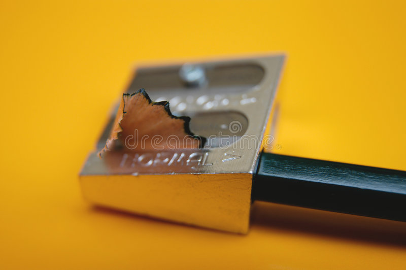 Lápis com sharpener fotografia de stock royalty free