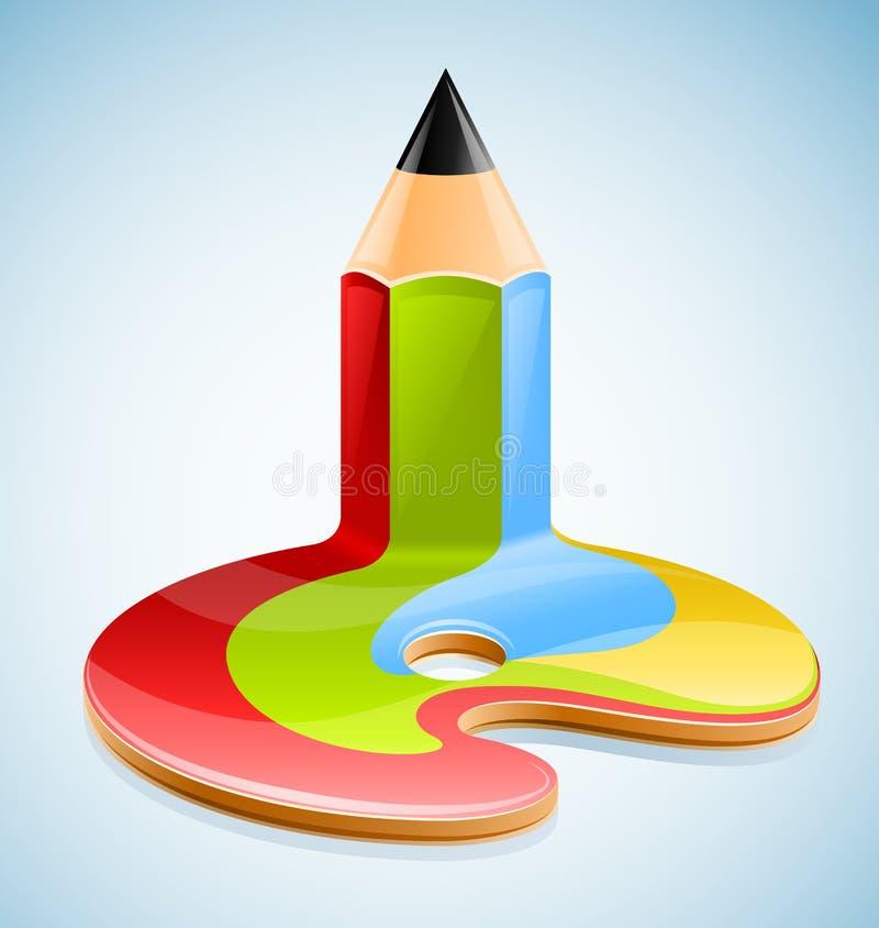 Lápis como o símbolo da arte visual ilustração royalty free