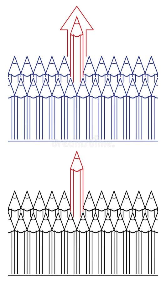 Lápis, conceito da liderança ilustração stock