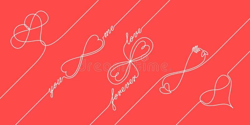 A lápis contínuo conceitos infinitos do amor do desenho ilustração royalty free