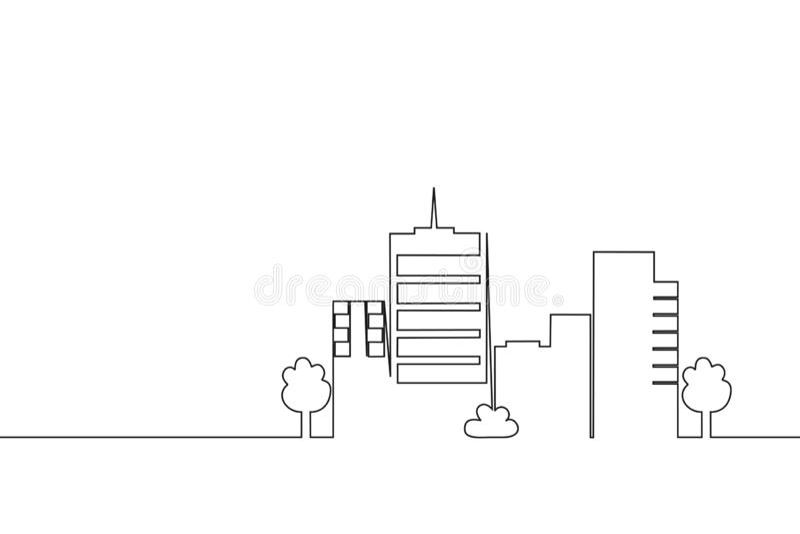 A lápis contínuo construção da cidade do desenho Uma linha única arquitetura da cidade r ilustração stock