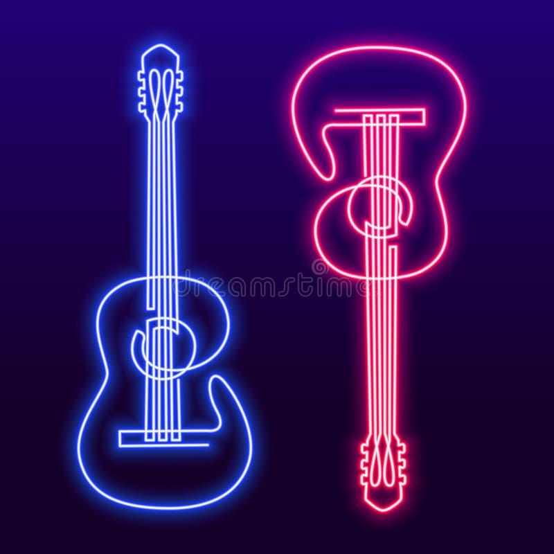 A lápis contínuo desenho da lâmpada leve azul cor-de-rosa de néon do vetor da guitarra acústica Única linha de instrumento musica ilustração do vetor
