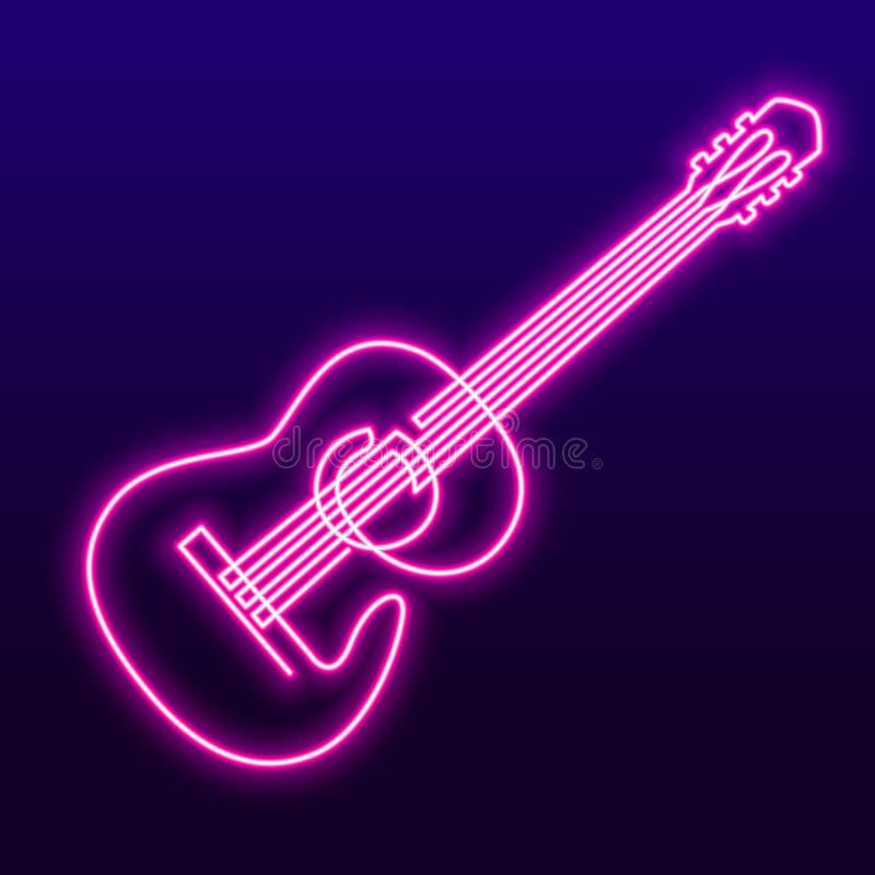 A lápis contínuo desenho da lâmpada leve cor-de-rosa de néon do vetor da guitarra acústica Única linha de instrumento musical par ilustração royalty free