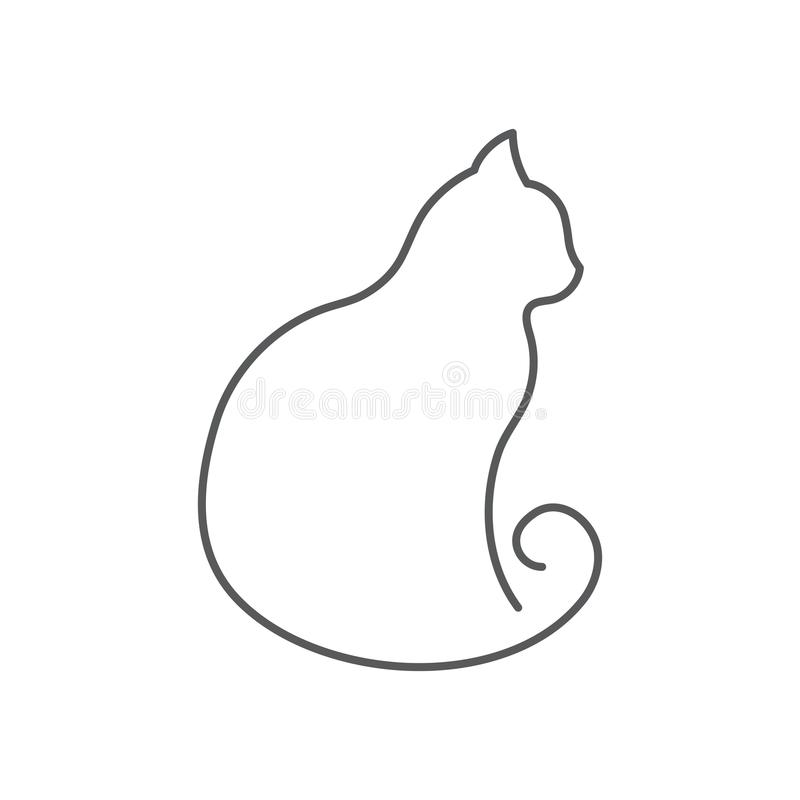 A lápis contínuo desenho do gato O animal de estimação bonito senta-se com opinião lateral torcida da cauda isolado no fundo bran ilustração royalty free