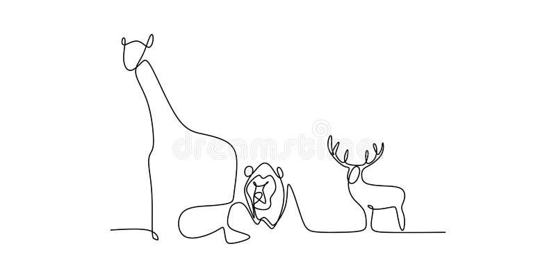 A lápis contínuo desenho do jardim zoológico animal do elefante, do leão, dos cervos, do pássaro, e da ilustração do vetor do gir ilustração royalty free