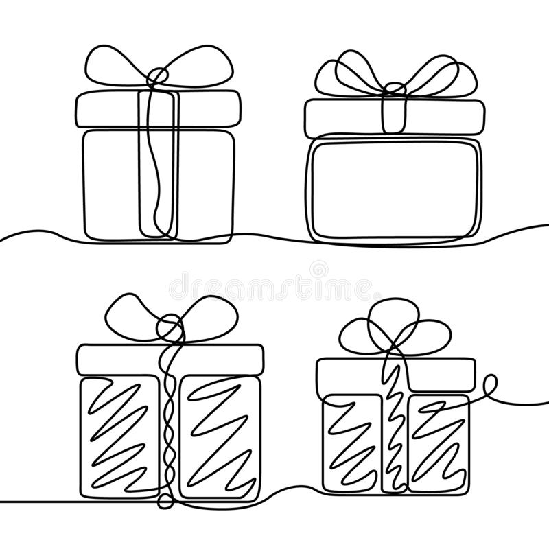 A lápis contínuo grupo do desenho da caixa de presentes Tema do ano novo e do Natal feliz ilustração stock