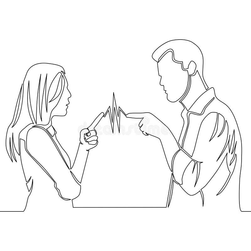 A lápis contínuo homem e mulher do desenho que discutem ilustração stock