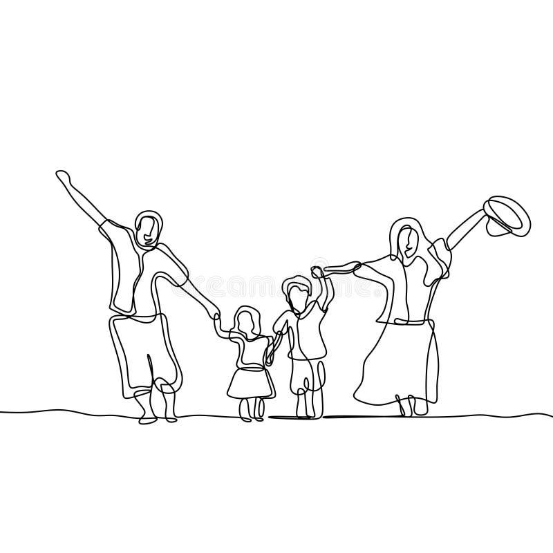 A lápis contínuo ilustração da família feliz do vetor do desenho isolada no fundo branco ilustração do vetor