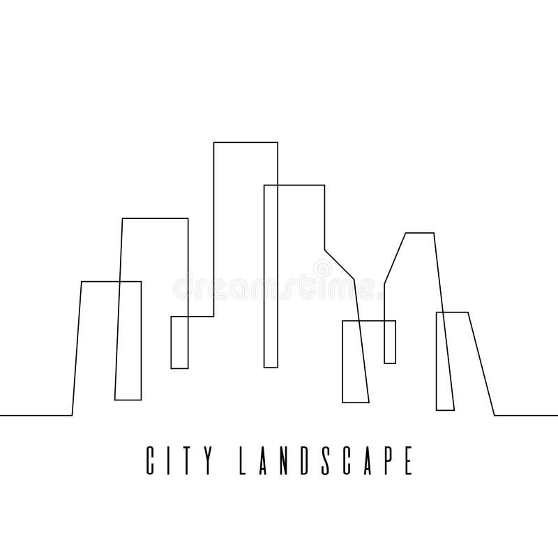 A lápis contínuo ilustração da skyline da cidade do vetor do desenho ilustração stock
