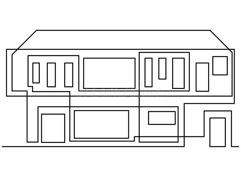 A lápis contínuo ilustração do vetor da supervisão da construção civil do coordenador do desenho simples indústria, casa, indústr ilustração do vetor