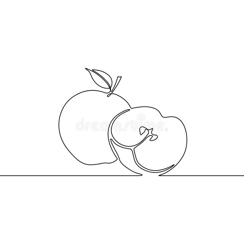 A lápis contínuo maçã do desenho com fatia de maçã Ilustra??o do vetor ilustração do vetor