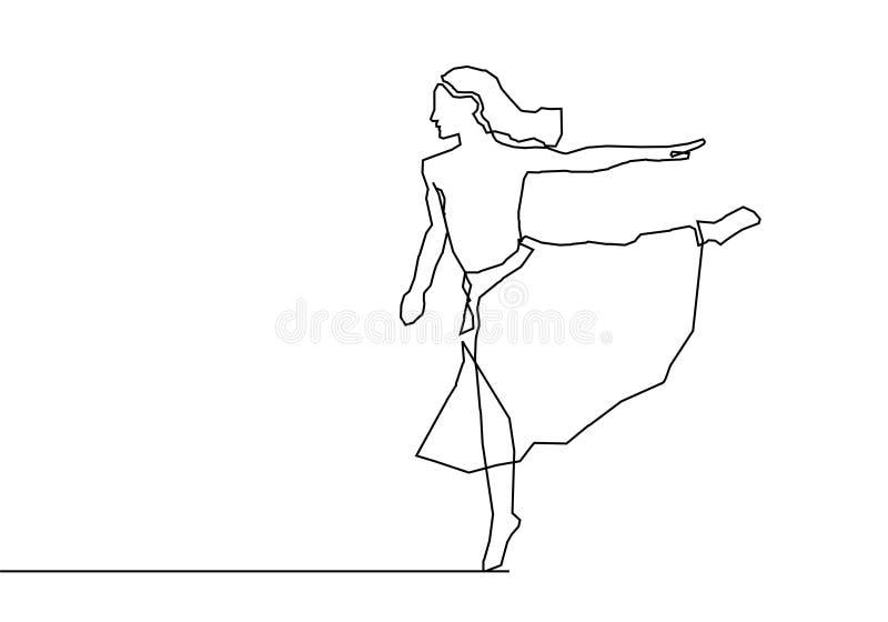 A lápis contínuo projeto da menina de dança do minimalismo do desenho ilustração do vetor
