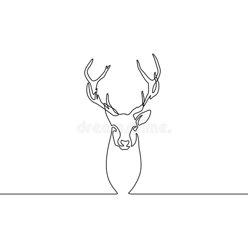 A lápis contínuo rena do desenho isolada no fundo branco Ilustra??o do vetor ilustração do vetor