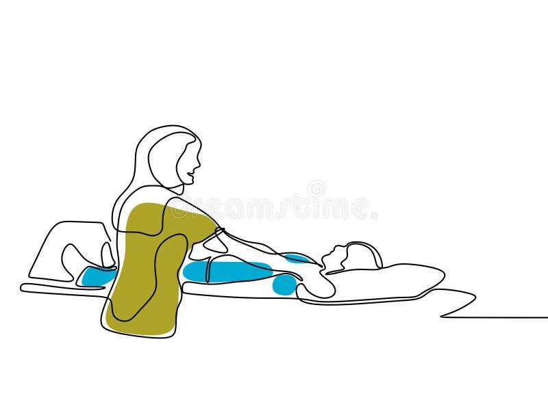 A lápis contínuo retrato do desenho do paciente de Taking Xray Of do radiologista Tema do controle médico no projeto minimalista  ilustração do vetor