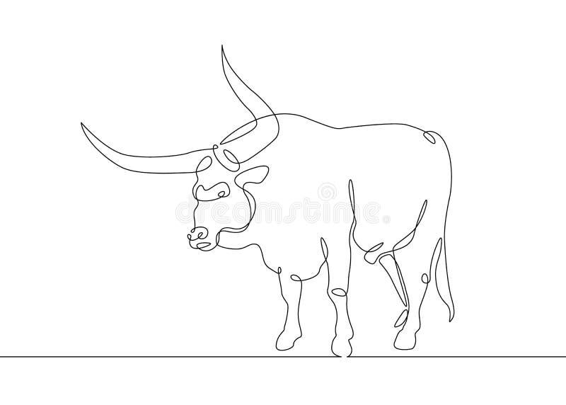 A lápis contínuo vaca do touro do desenho ilustração stock
