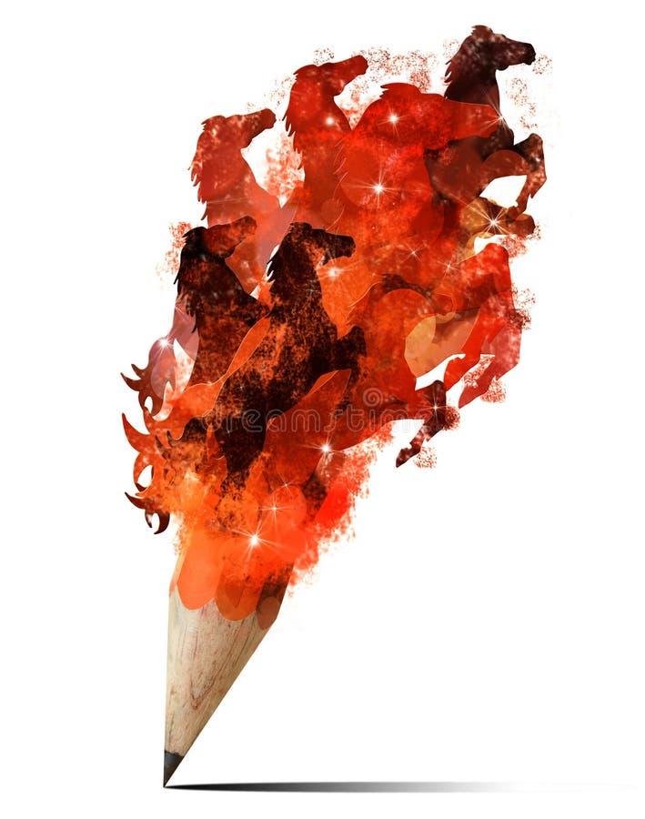 Lápis creativo do respingo com imagem dos cavalos. ilustração royalty free