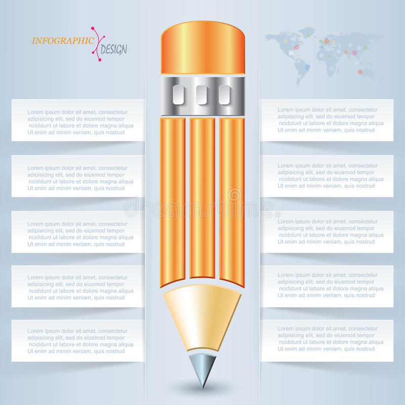 Lápis criativo do vetor para o molde infographic ilustração stock
