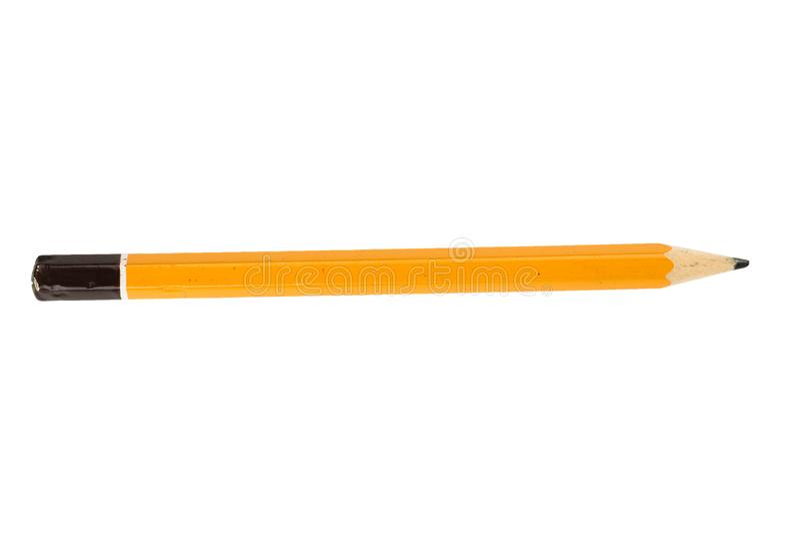 Lápis curto amarelo no isolado fotos de stock royalty free