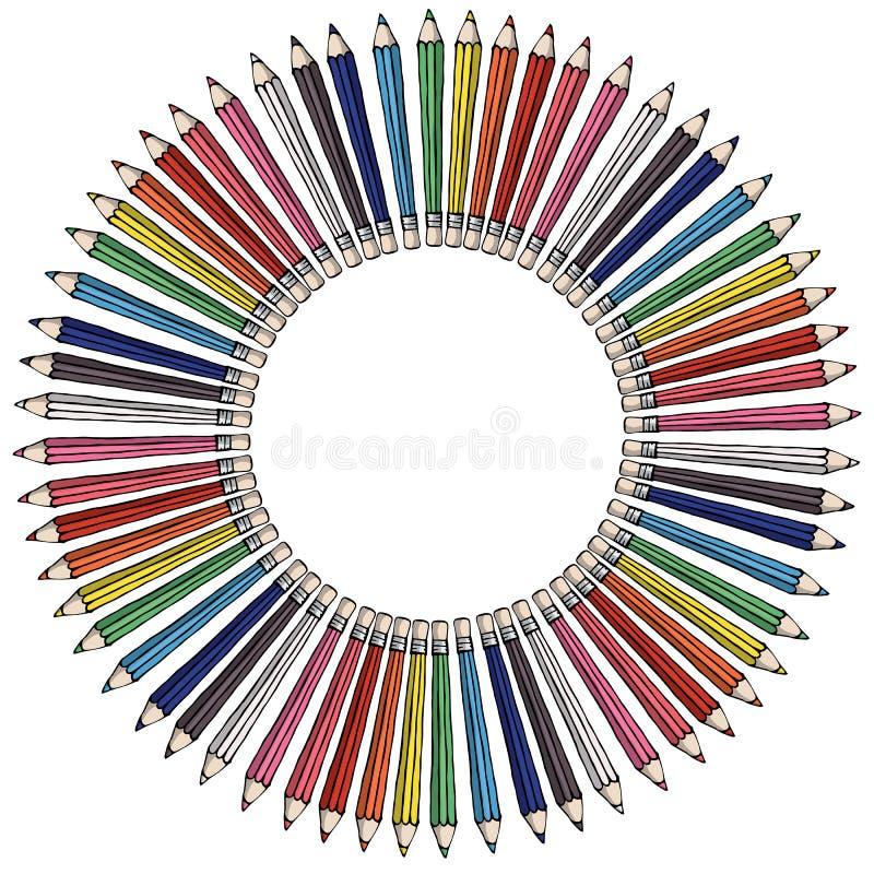Lápis 3d coloridos de madeira realísticos isolados no fundo branco Grupo de lápis colorido para a ilustração do vetor da escola ilustração do vetor
