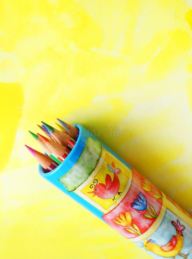 Lápis da arte das crianças fotos de stock royalty free