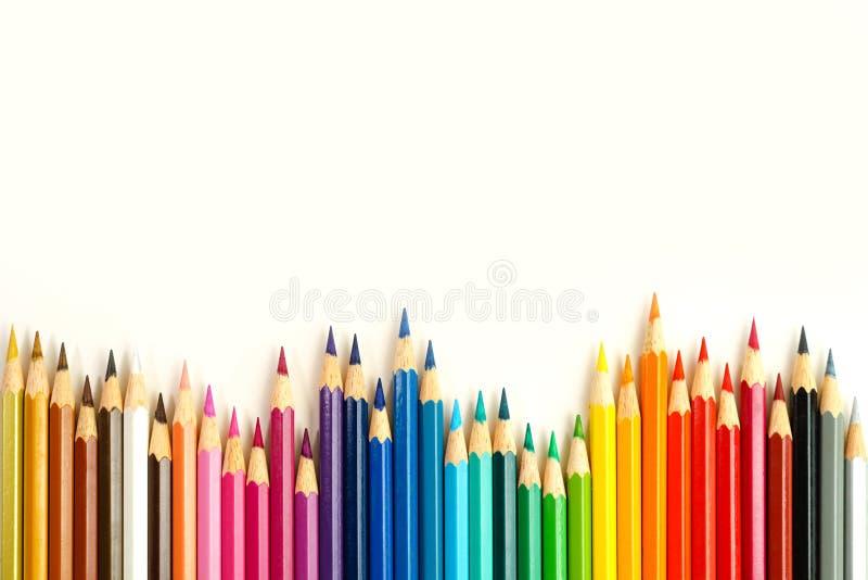 Lápis da coloração na fileira fotografia de stock