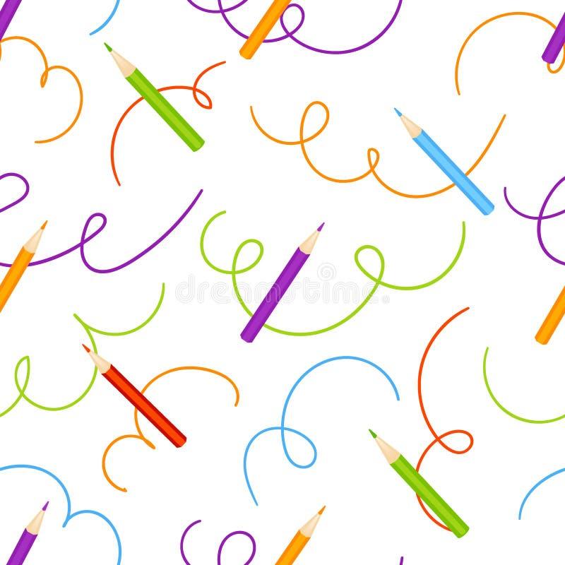Lápis da cor e para chocar o vetor sem emenda do teste padrão ilustração royalty free