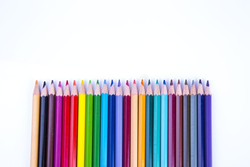 Lápis da cor isolados no fundo branco imagens de stock