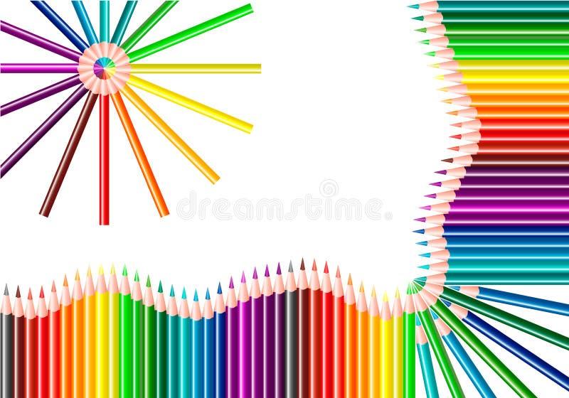 Lápis da cor isolados no fundo branco Lápis de cores do arco-íris Cor do espectro ilustração do vetor