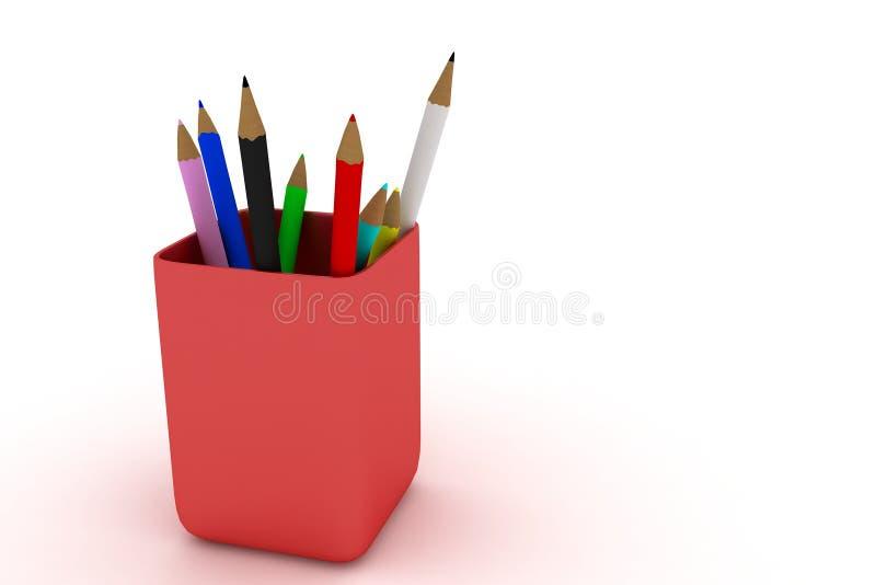 Lápis da cor no branco fotografia de stock royalty free