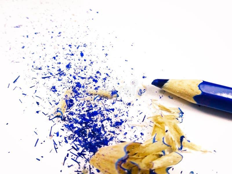 Lápis de giz azul com hastes sobre fundo branco imagens de stock