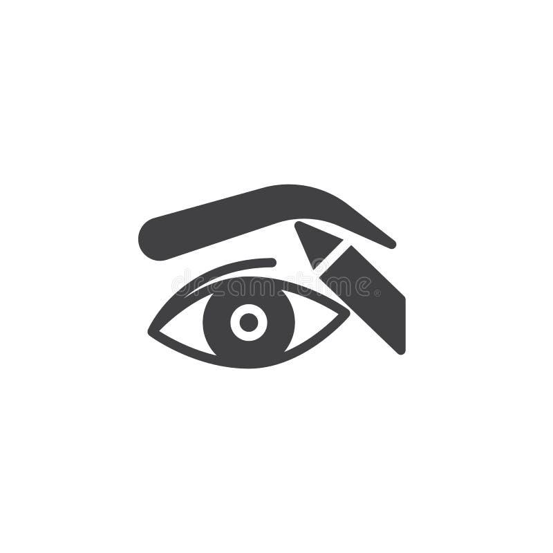 Lápis de olho e sobrancelha da correção que dá forma ao ícone do vetor ilustração do vetor