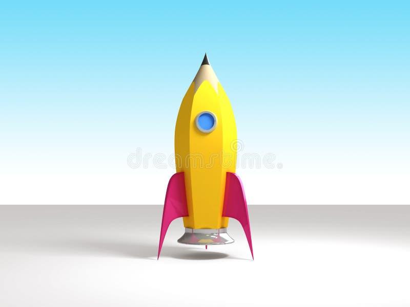 Lápis de Rocket pronto ilustração stock