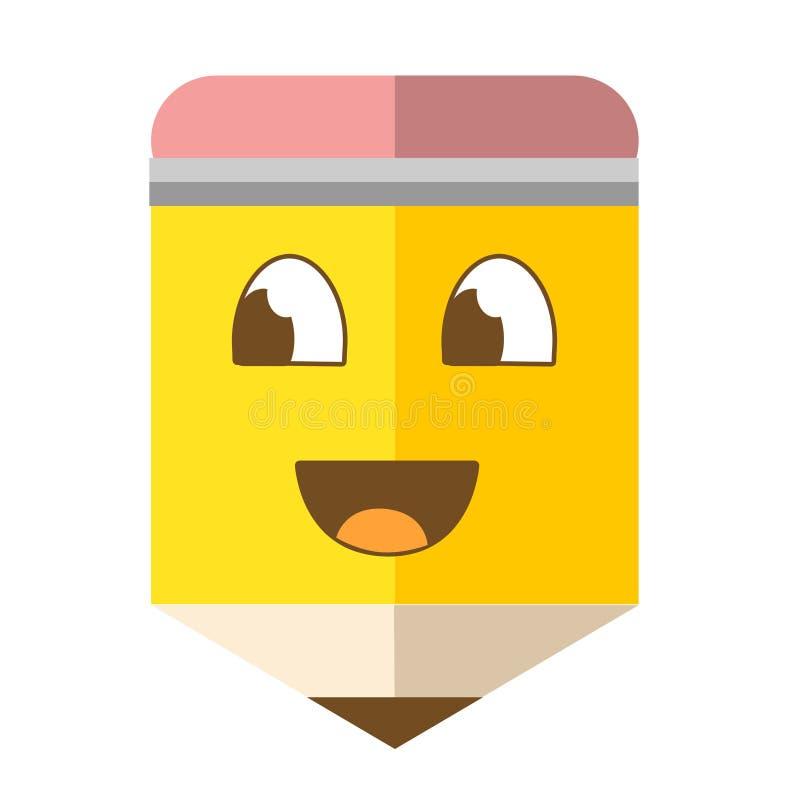 Lápis de sorriso dos desenhos animados do divertimento fotografia de stock